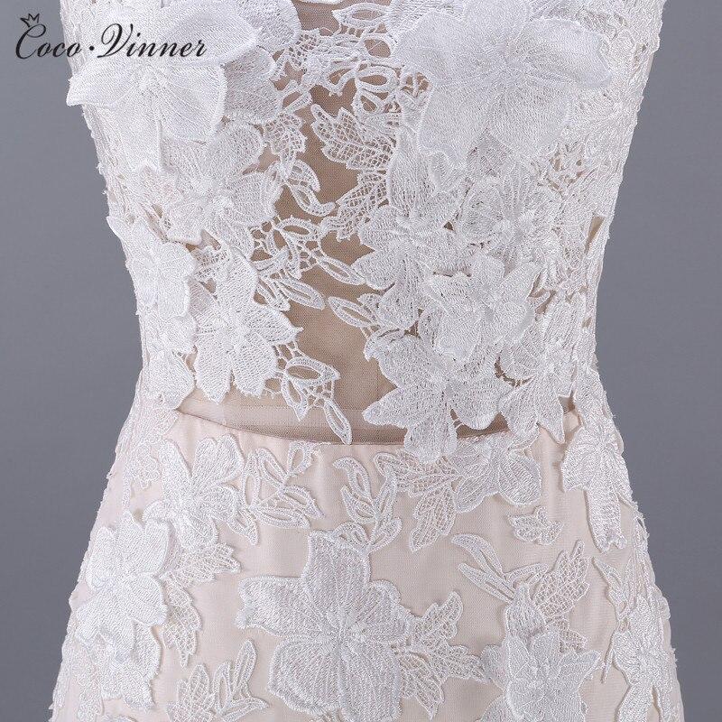 Kwaliteit Vestido De Noiva Backless Bloemen Applicaties Sexy Trouwjurk 2019 Champagne Kleur Mermaid Trouwjurken W0045 - 4