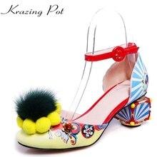 Krazing pot/модная новинка Женская Брендовая обувь цветок пряжки печать с вечерние женские сандалии цвета Роскошные обувь высокого качества L03