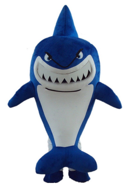 Costume Della Mascotte dello squalo Bruce Personaggio Dei Cartoni Animati Di Compleanno Del Partito di Halloween Del Partito
