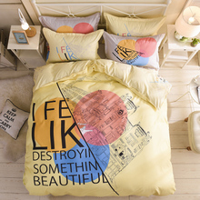 Nordic style Bedding Set 3/4pcs Duvet Cover set twin full queen king size bed printed sheet linen bedclothes Pillowcases