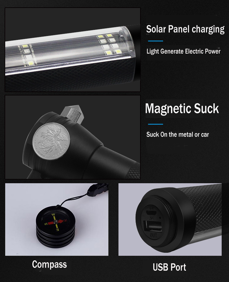 Solar Power USB Rechargeable LED Flashlight with Outdoor Emergency Hammer Safe-belt Cutter Compass Aid & Warning Sign Power Bank_14