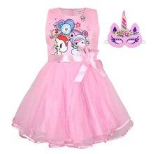 2019 summer new girls Cosplay stereo bow dress Unicorn Halloween performance show mesh princess dress