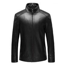 2015 New Short Genuine Leather Jacket Men 100% Sheep skin Jacket Men Motorcycle Jacket Stand collar Jaqueta De Couro Masculina
