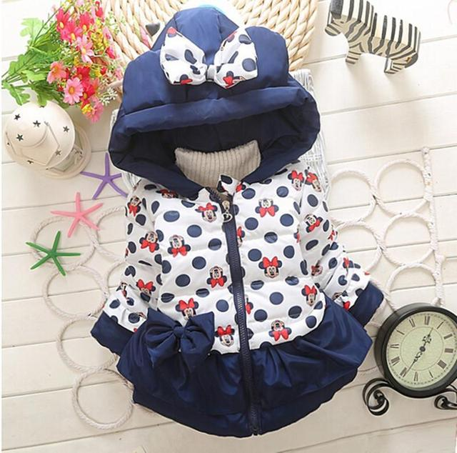 Retail new style 3 color clothes, girls Mickey, Minnie Jacket Boys and girls thick warm cotton jacket children lovely coat