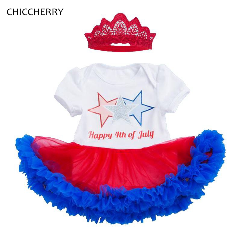 Stars Happy 4th of July Outfit Baby Girl Dress with Headband Lace Tutu Girls Dresses Summer Toddler Clothes Infant Clothing