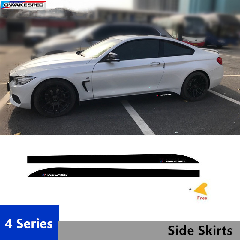 For BMW 4 series F32 F33    Performance X2 Door Side Skirts Decal Car Body Carbon Fiber Sticker Sport Racing Styling