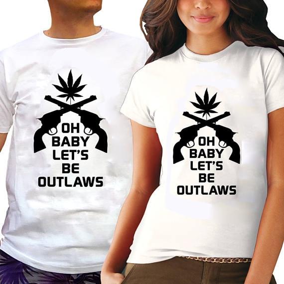 EnjoytheSpirit Mary Jane Çift Gömlek Oh Bebek Olalım Outlaws Hediye Boyfriend Girlfriend Komik Çiftler Eşleştirme için Tees