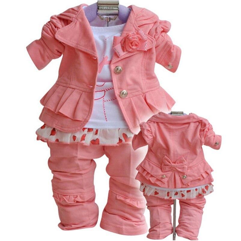 Для маленьких девочек комплект одежды для мальчиков 3 шт. красный Детский спортивный Костюмы для маленьких девочек штаны Костюмы Формальные зимняя модная детская одежда для девочек комплекты