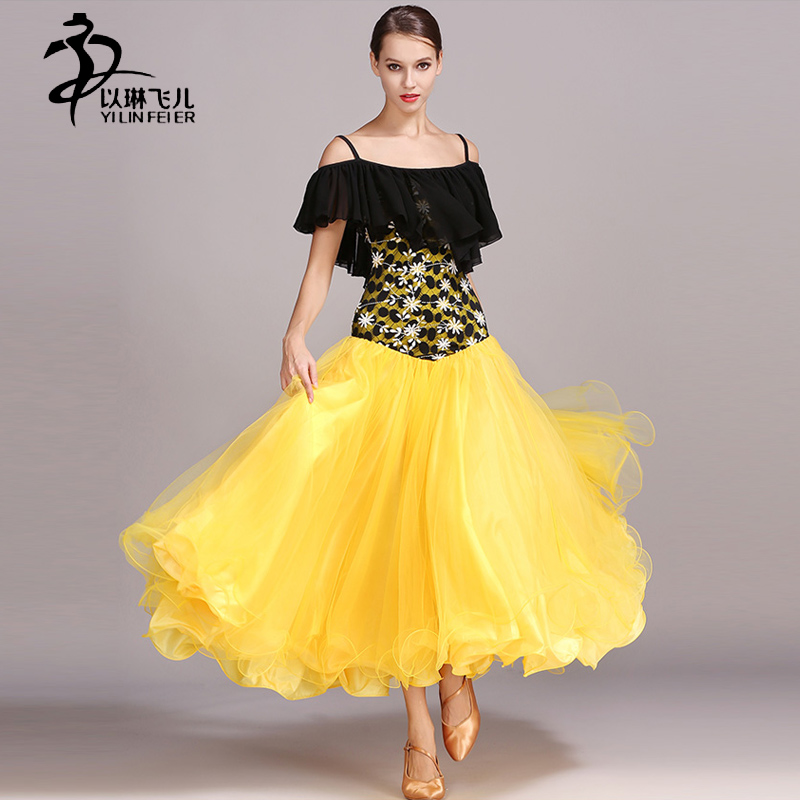 Newest Design Ballroom Dance Costumes Women Modern Waltz Tango Competition Dresses Adults Chiffon Ballroom Standard Skirt
