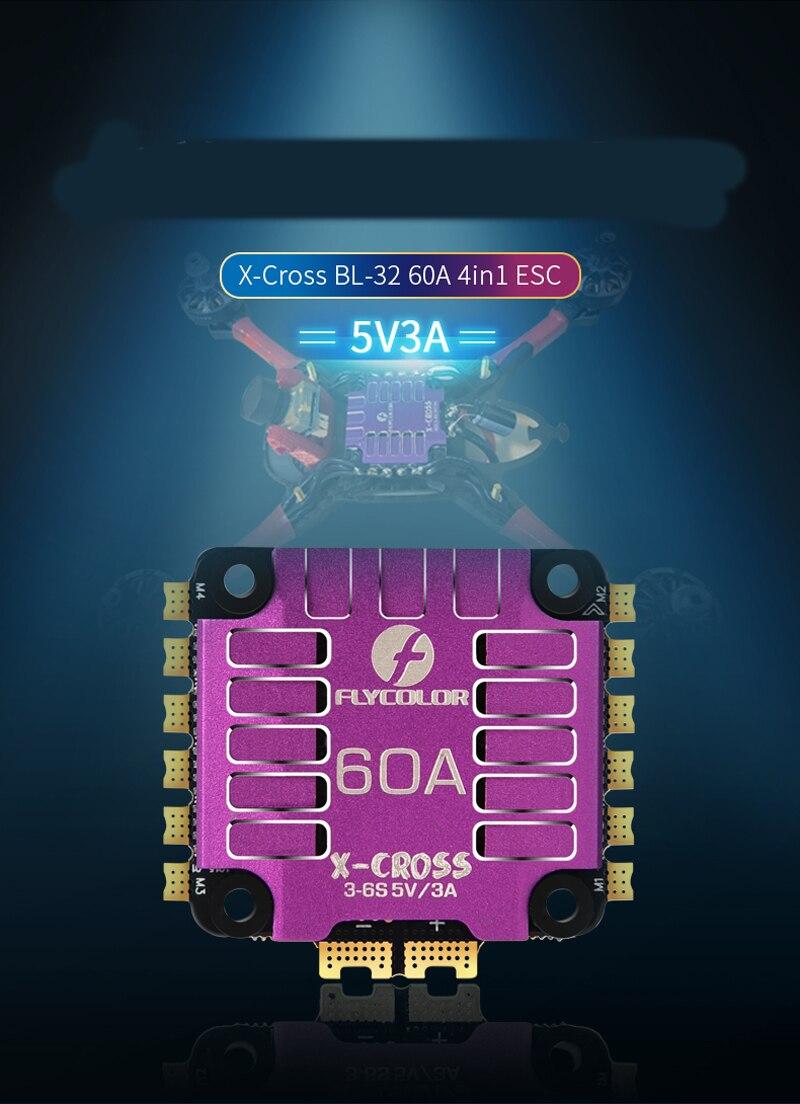 1PC nouveau FLYCOLOR x-cross BL-32 60A 3-6S ESC 4 en 1 5V3A BEC STM32F0 processeur contrôleur de vitesse électronique pour RC FPV Racing Quad