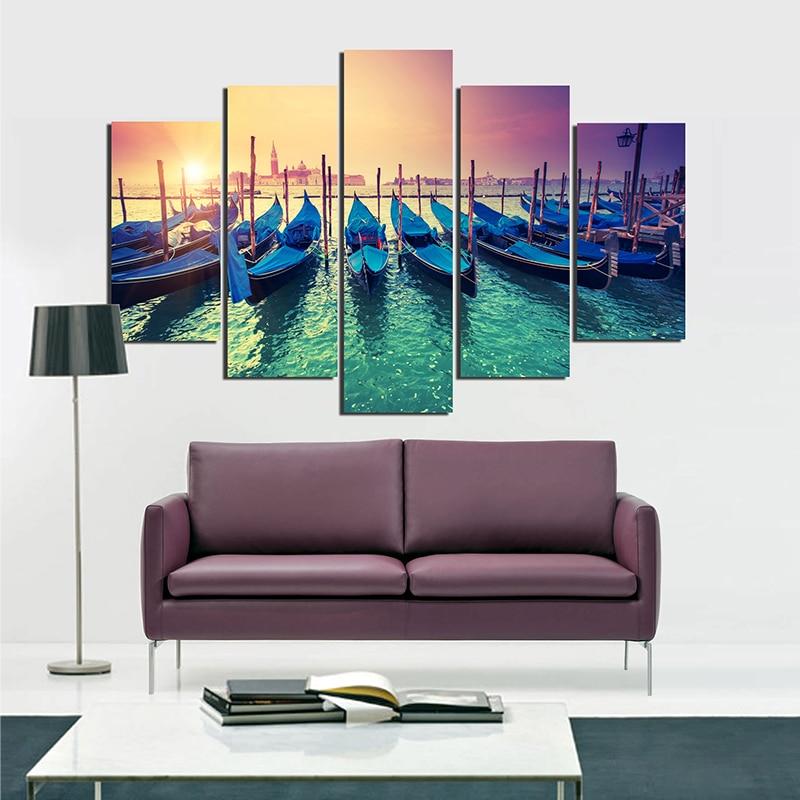 Sin marco venecia Modular cuadro puesta de sol mar óleo de la lona ...