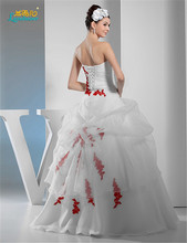 Adorable ball gown white and red Strapless Wedding Dress 2016 Sleeveless Appliques Floor-length Vestidos De Novia Custom Made