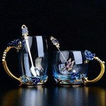 Ручная работа, эмаль кристалл, чашка, кофейная кружка, молоко, лимон, Цветочная чайная чашка, Высококачественная стеклянная Подарочная круглая кружка для влюбленных, свадьба