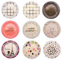 10 pièces jetable vaisselle ensemble jetable papier plaque paille tasse or noir rouge pour mariage anniversaire décoration fête fournitures