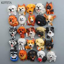 Koteta Cartoon Cute Mini Husky Bulldog Fridge Magnet Kids Early Education Dog Magnetic Stickers for Fridge Resin Figure Sticker