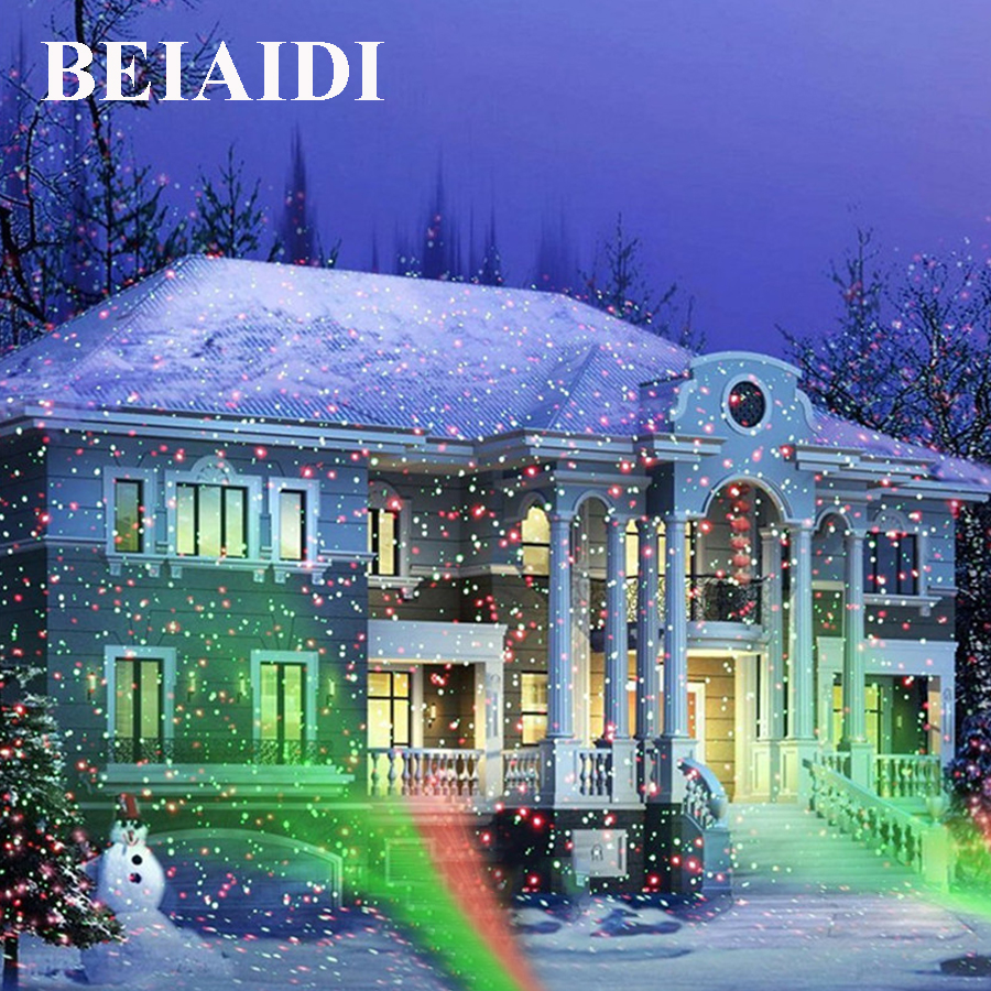 BEIAIDI Green Red Christmas Laser Light Outdoor Sky Star Laser Projector lamp Home Garden Landscape Star DJ Diso LED Stage Lamp
