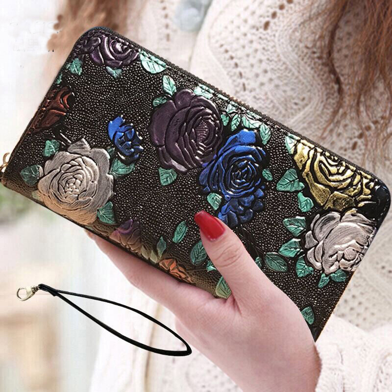 2019 New Women Wallets long 3D butterfly Leather Genuine Luxury Brand Design  Fashion Female Purse Card Holder Long Clutch Bag