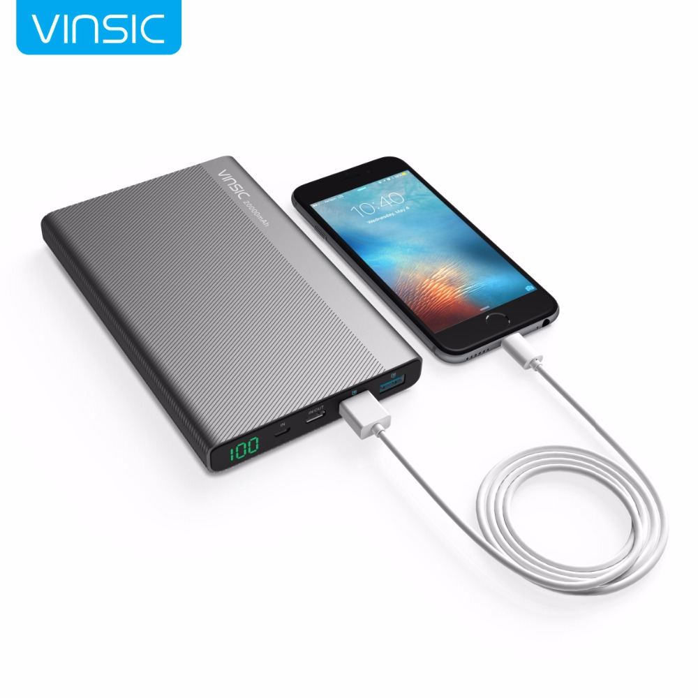 Vinsic 20000 mah 3a type-c charge rapide banque dual power smart usb sorties externe portable batterie chargeur pour samsung huawei