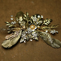Vintage Bronze Colour Leave Wedding Hair Clip Comb Rhinestone Bridal Jewelry Headpiece Handmade Women Accessories