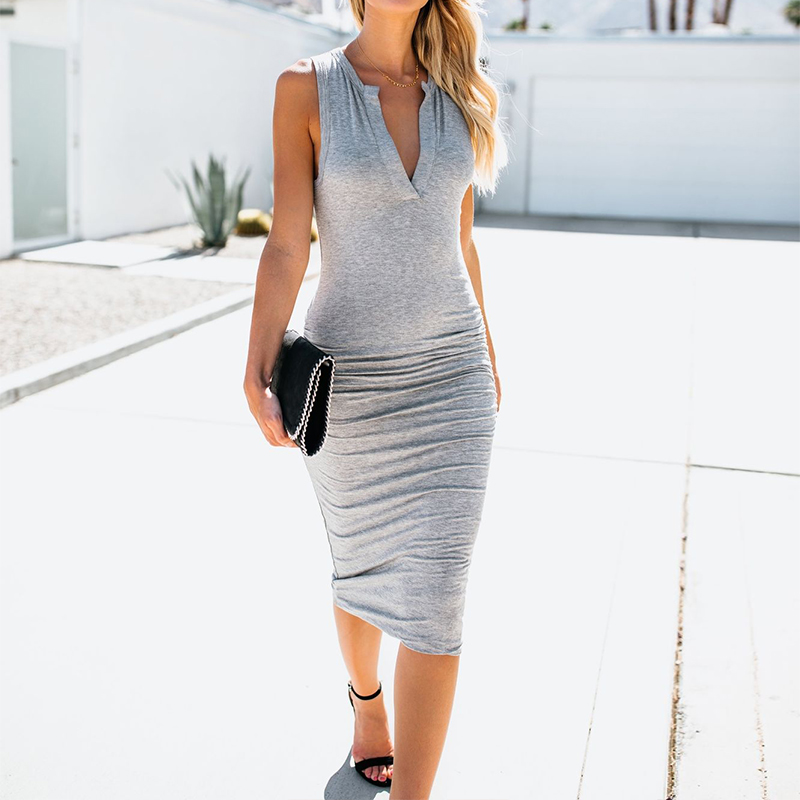 2018 Summer Women Sexy V Neck Sleeveless Dress Fashion Solid Elegant Bodycon Knee Length Dresses Work Bussiness Vestido Robe