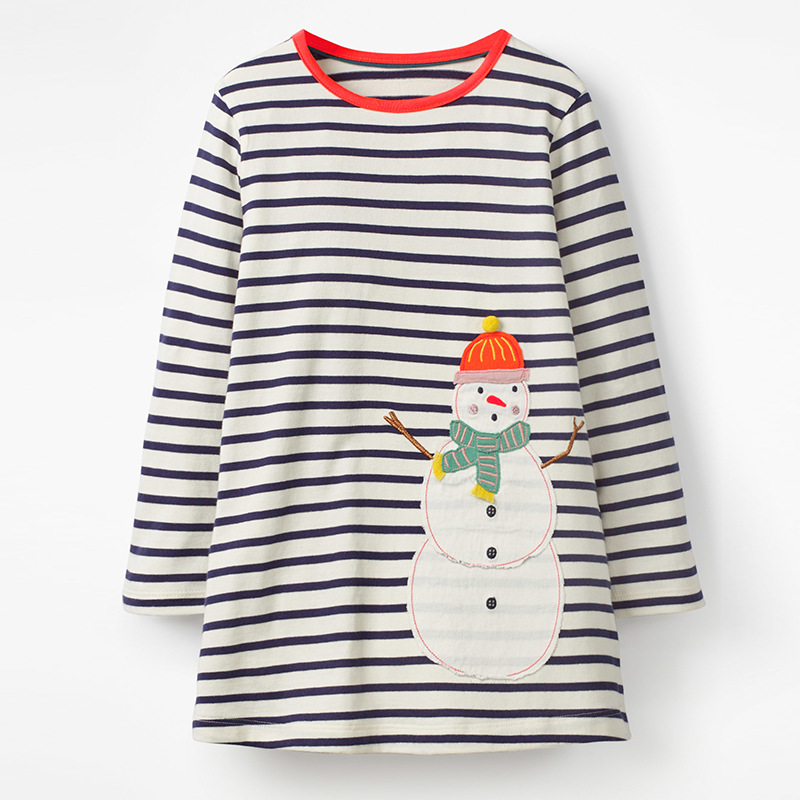 Little maven kids girls fashion brand autumn baby girls clothes Cotton striped applique snowman toddler girl dresses S0523 in Dresses from Mother Kids