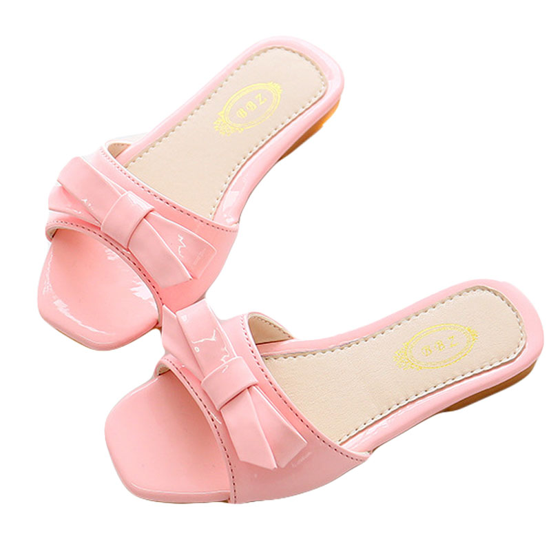 2017 Girls Slippers Solid Color Bowknot Design Children Shoes Indoor Slipper Beach Casual Sandals Princess Kids