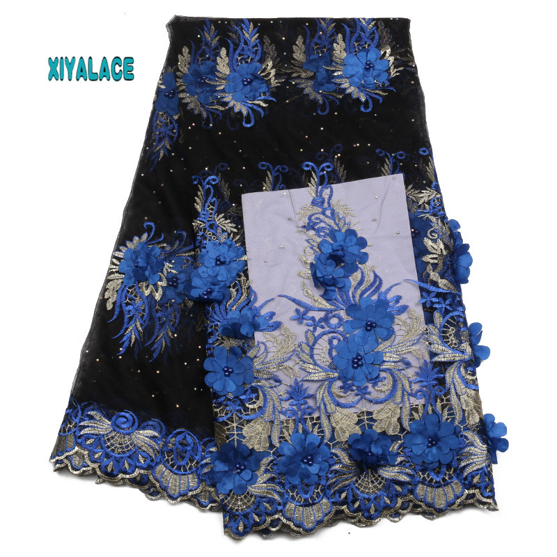 African Lace Fabric Nigerian Newest Embroidery With Stones 3D Flower Beaded African Tulle Lace For Wedding Party Dress YA1909B-1