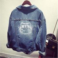 Bts Kpop Clothes Shirt Denim Jacket Hole Coat Female Baseball K Pop Bts Bangtan Boys Uniform