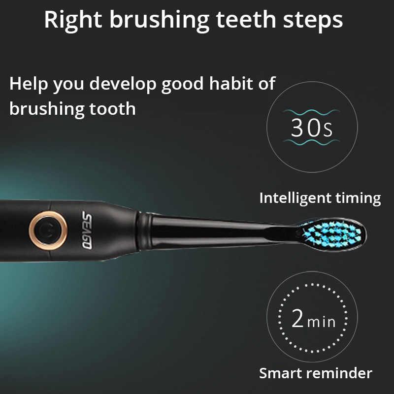 الكبار فرشاة أسنان كهربائية بالموجات الصوتية 2 دقيقة الذكية الموقت 40000 السكتات الدماغية العميق تنظيف الفم 5 طرق للماء USB قابلة للشحن