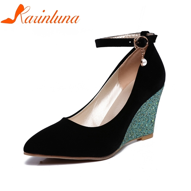 Karinluna 2018 Top Quality Pointed Toe Women Shoes Spring Pumps Office Lady Wedges High Heels Party