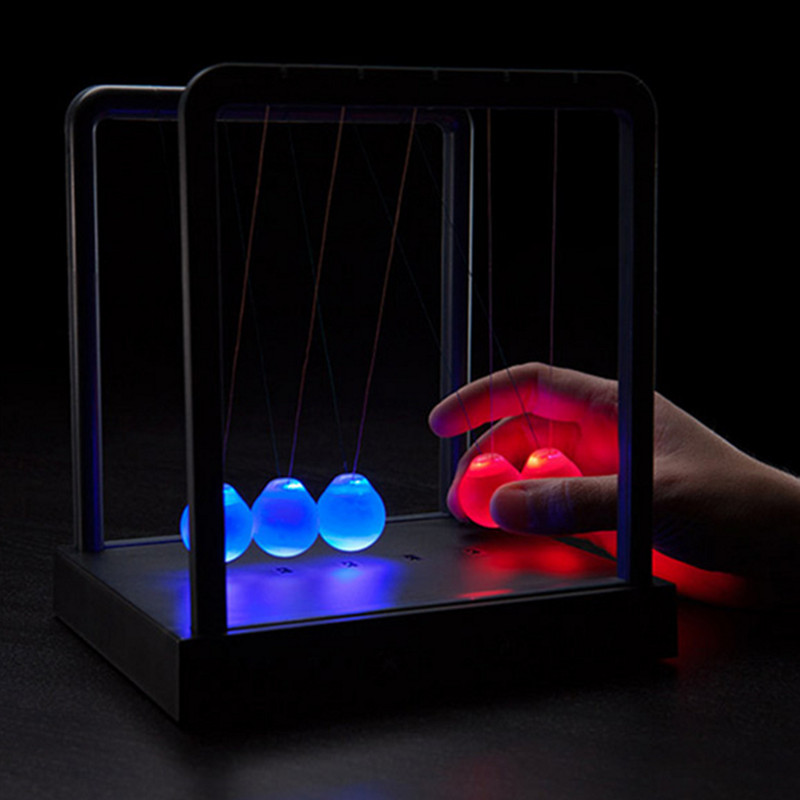 Colorful Newtons Cradle Balance Ball Led Table Lamp Physics Science Atmosphere Night Light for Children Baby Kids Gift