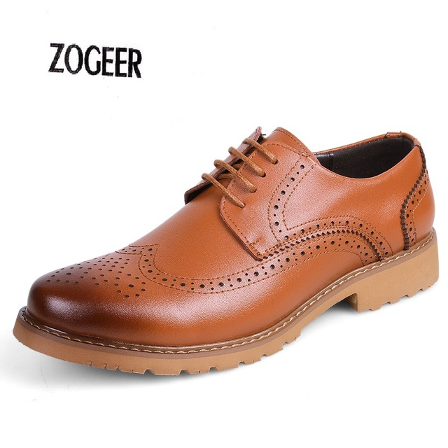 Wedding Oxfords Formal Shoes Genuine Leather Dress Shoes Casual Men's British Brogue Carved Flats Vintage Italian Spiked Zapatos
