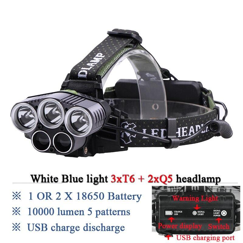 Blau licht weiß USB 5 led-scheinwerfer scheinwerfer scheinwerfer CREEXM L T6 Q5 15000 lumen leistungsstarke led-taschenlampe stirnlampe lampe