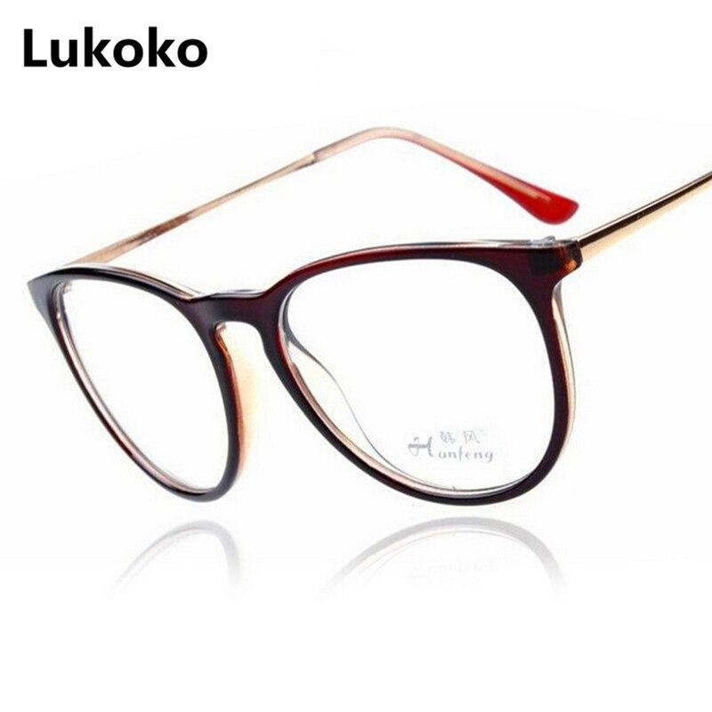 dc2afeb994d Lukoko 2018 Fashion Vintage Women Eye Glasses Frames Plain Mirror Large Clear  Lens Round Eyeglasses Metal