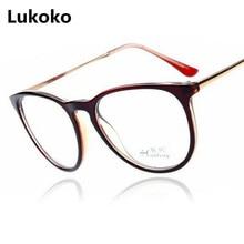 f5569d2c87 Lukoko 2018 moda Vintage mujeres gafas espejo plano grande transparente lentes  gafas redondas Metal Retro Eyewear óptico