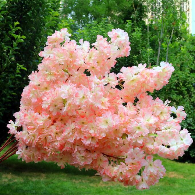 Image 2 - 30p Artificial Waterfall Cherry Blossom Flower Branch White/pink/Champagne Cherry Begonia Sakura Tree Stem with Green Leaf-in Artificial & Dried Flowers from Home & Garden