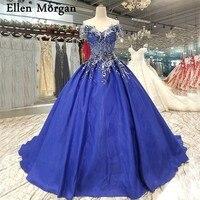 Королевский синий атлас бальные платья свадебные платья 2018 Vestido De Noiva вышивка бисером на шнуровке с открытыми плечами элегантные свадебные