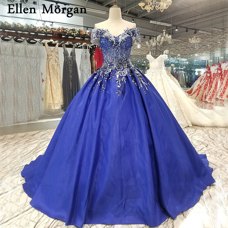 Blue Wedding Dresses 2019: Royal Blue Satin Ball Gowns Wedding Dresses 2019 Vestido