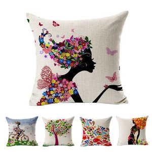 Image 2 - Aantrekkelijke Bloemen Gedrukt Patroon Kussenslopen Cover Super Stof Thuis Bed Decoratieve Throw Beddengoed Kussensloop