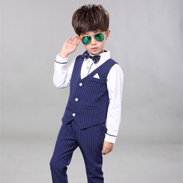 2018 Children Baby Boy Blazer Clothes Set Shirt Striped Vest Pants Suits For Wedding Kids Tuxedo Suit Boys Vest Formal Clothing boys clothing set striped vest pant shirt suits formal outfits kids school uniform baby children wedding party boy clothes sets
