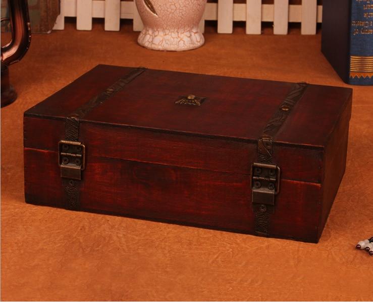 Шкатулка Новый Ретро замок хранения деревянный ящик красивая коробка для хранения реквизит подарки случаев 23x16x7.5 см