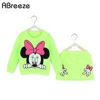 New Retails Children Girls Clothing Sets Spring Autumn Minnie Mouse Long Sleeve Cotton Fleece Shirt Top