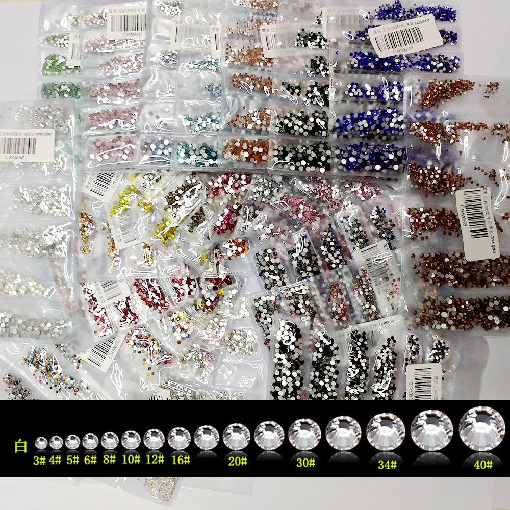 New 22 Colors SS3-SS10 Small Sizes Rhinestones Nail