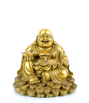Fengshui Laughing Buddha Sitting on Lucky Money Coins carrying Golden Ingot for Good luck & Happiness