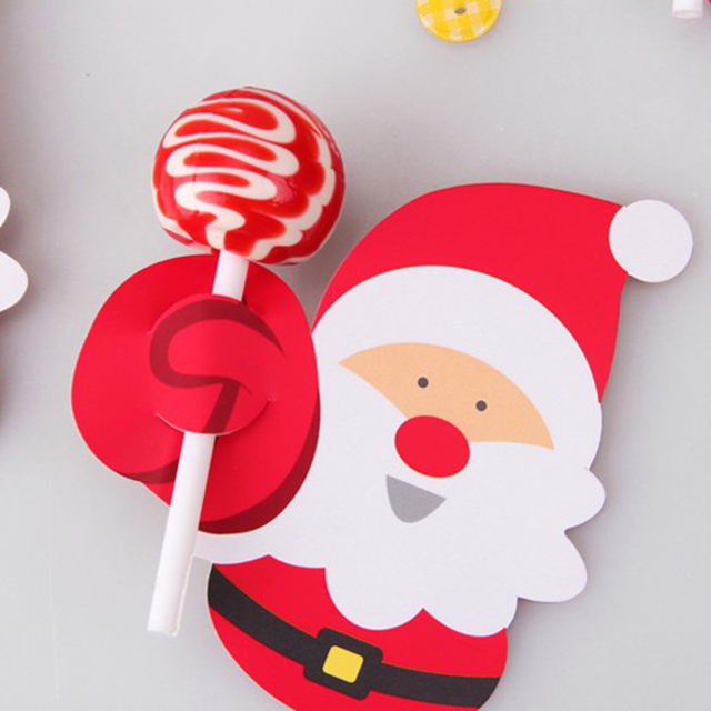 50pcs Hot Sale Penguin Santa Claus Lollipop Paper Card Decoration Birthday Party Candy Decor Christmas Candy Gift For Kids 3