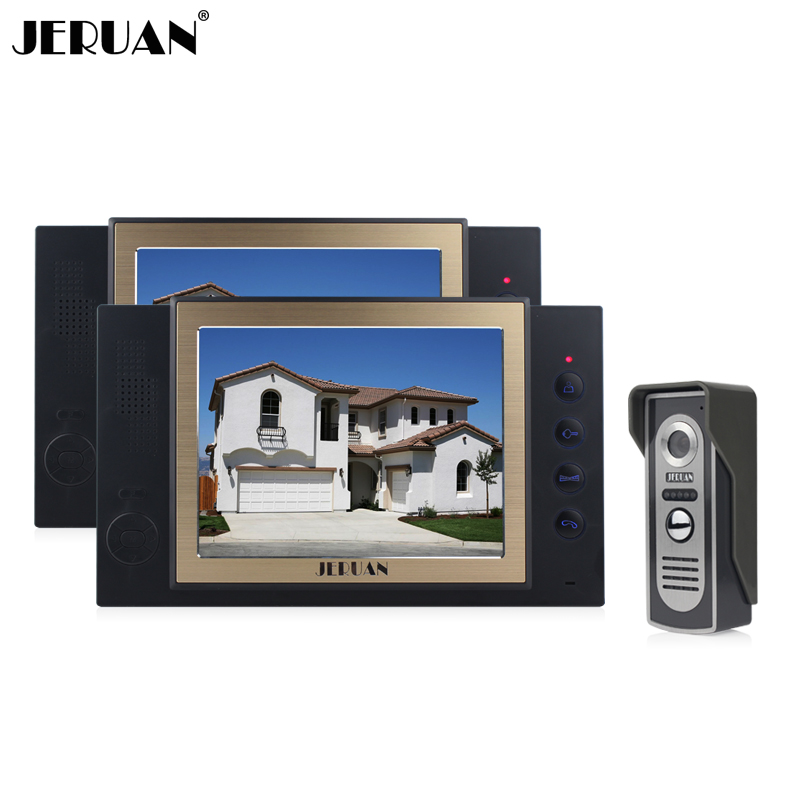 JERUAN 8 inch screen video door phone  video recording and taking photo 1 Camera 2 monitors system with rain cover jeruan 8 inch video door phone high definition mini camera metal panel with video recording and photo storage function