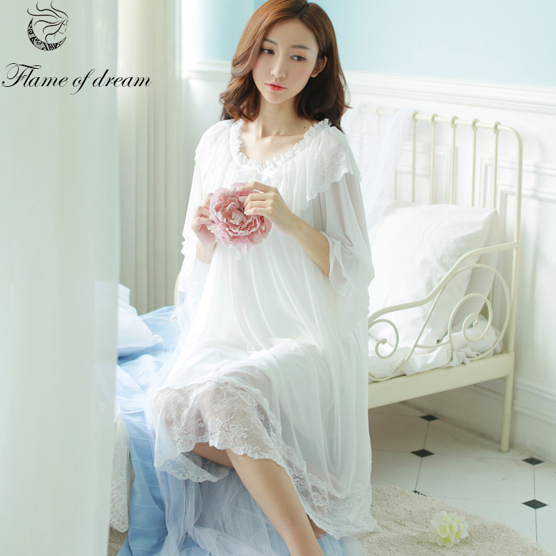 Relogio Feminino Long White Nightgown Long Nightgown Chemise De Nuit Sleepwear Nightgown 245
