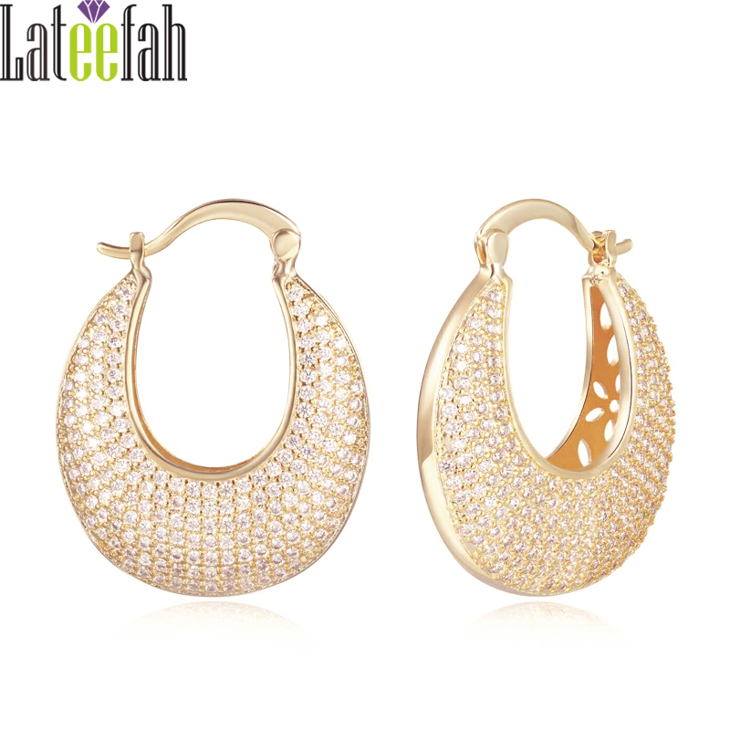 Luxury Hoop Earrings AAA White Cubic Zirconia Micro Pave Gold Color Wedding Engagement Huggie Earrings for Women Jewelry Collier yoursfs 18k rose gold plated tiny huggies hoop earrings dense cz huggie earrings for women crystaldust ear jewelry gift