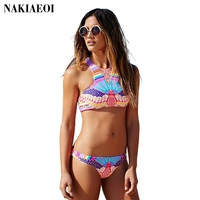 New Brazilian Bikini Ladies Swimsuit Halter Print Sexy Swimwear For Girls 2016 New Bikini Set Beach