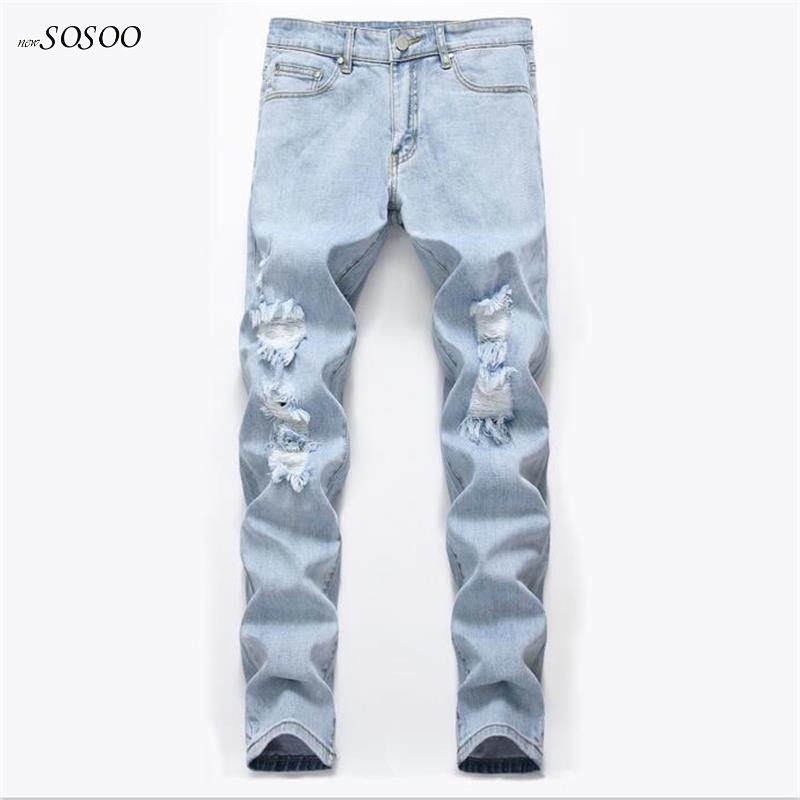 ripped jeans for men cotton skinny fear of god European and American style high quality leisure fashion jeans men #059